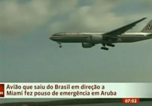 Boeing da American Airlines pousando em Aruba-Foto:Globo News