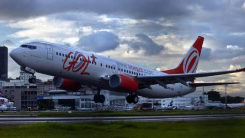 Avião da GOL: já a oferta de assentos da GOL para a mesma categoria de voos evoluiu 2,2%-Foto: Dado Galdieri/Bloomberg